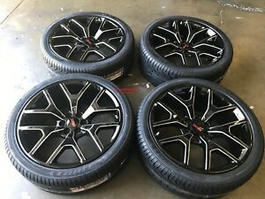 24 Gmc 1500 Sierra Black Milled Tires Rims Denali Chevy Silverado Tahoe Wheels