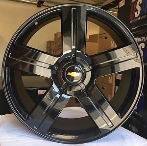 26 Chevy Ltz Texas Gloss Black Wheels Tires Rims Gmc Sierra Chevy Silverado