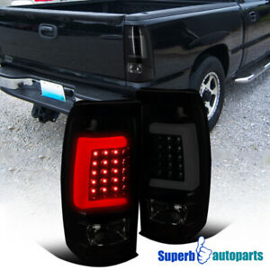 For 2003 2006 Chevy Silverado 1500 2500 Led Tube Brake Tail Lights Black Smoke
