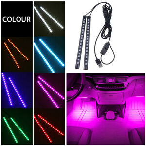 Pink 2x16 Led Car Interior Footwell Floor Decor Atmosphere Light Neon Strips