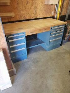 Lista 9 Drawer Work Bench With Butcher Block Top
