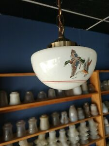 Antique Vtg Art Deco Late 30 S Ceiling Light Lamp Fixture Glass Pendant Antique