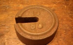 Antique 10 80 Cast Iron Hanging Platform Stacking Scale Counter Weight