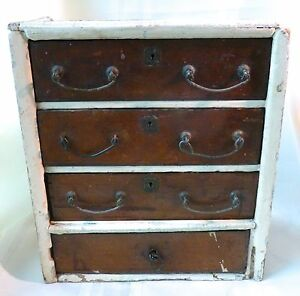 Antique Primitive Small Doll Dresser Crate Cigar Box Construction Hardware Tramp