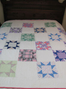 1920s Hand Stitched Primitive Calico Pennsylvania Gingham Feedsacks Star Quilt