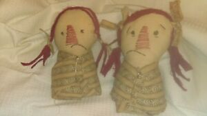 Primitive Handmade Raggedy Ann Baby Rag Dolls Set Of Two Twins 9 Inches