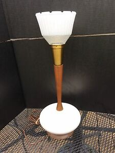 Vintage Danish Modern Teak Walnut Plaster Table Lamp Mid Century
