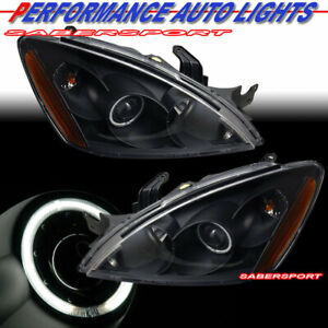 Pair Black Projector Headlights W Ccfl Halo Rim For 2004 2006 Mitsubishi Lancer