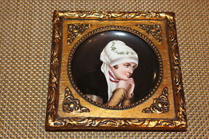Antique Hand Painted Porcelain Portrait Plate Elegant Woman Holding Hands Gilded