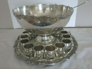 F B Rogers Ornate Punch Bowl 15 Cups Tray Heavy Silver Plated Pedestal Set Ladle