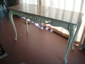 Marble Top Table With Carved Wood Base