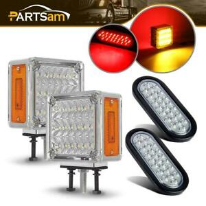 Pack4 Double Faced Led Pedestal Mount Red amber 6inch Oval Stop Turn Tail Light