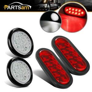 For Truck Boat 6 Inch Oval 4 Round Stop Turn Tail Brake Light Waterproof 4pcs
