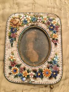 Mosaic Frame From Italy Beautiful Floral Sprays On Top Bottom