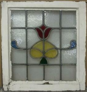 Old English Leaded Stained Glass Window Gorgeous Tulip Design 19 X 20 25