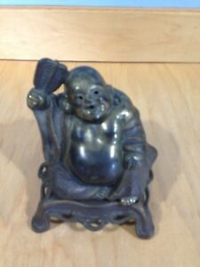 Antique French Bronze Metal Happy Buddha Incense Burner