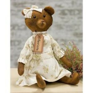 Antique Style Henrietta Bear Doll Fabric Dress Aged 16 Vintage Look Primitive