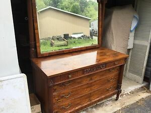 Antique Burl Carved Walnut 3 Over 3 Dresser With Mirror Awesome