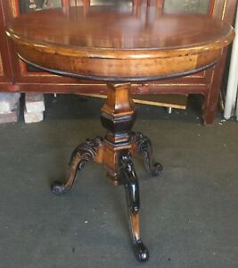 Round Carved Rococo Style Lamp Table