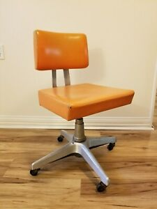 Industrial Era Space Age Retro Mid Century Modern Orange Office Desk Chair