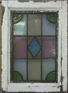 Victorian English Leaded Stained Glass Window Stunning Geometric 13 X 18