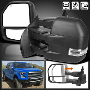 Fits 2015 2019 Ford F150 Power Heated Clear Led Signal Tow Mirrors 8pin 22pin