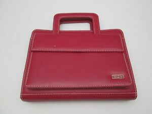 Day One Franklin Covey Day Planner Organizer Zip Binder 7 Rings Red With Handles