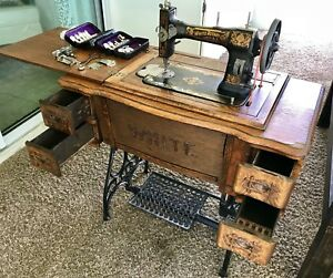 Antique White Rotary Treadle Sewing Machine From Early 1900 Excellent