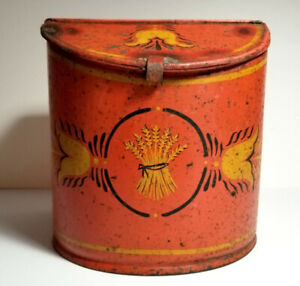 Antique Early Painted Tin Slant Lid Cannister Tulips Wheat Sheaf Pa German 1880