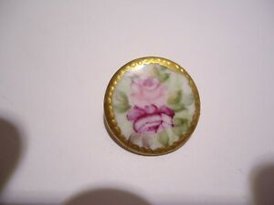 Antique Vintage Painted Flowers Porcelan Roses Button Gold Edge Large