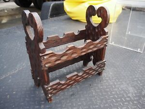 Vintage Witco Mid Century Modern Tiki Wood Carved 6 Bottle Wine Rack Spain Made
