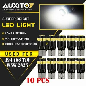 10x Auxito T10 168 2825 194 Led License Plate Light Bulb 6000k Bright White Eoa