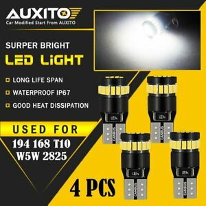 4x Auxito T10 168 2825 194 Led License Plate Light Bulb 6000k Bright White Eoa