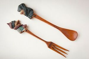 Vintage Anri Style Hand Carved Wood Salad Spoon And Fork Set