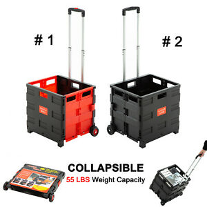 Folding Trolley Rolling Shopping Cart Collapsible Basket 2 wheel Plastic Picnic
