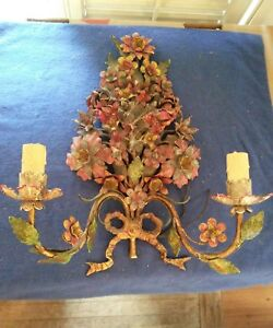 Antique Italian Tole Multi Color Floral Exceptional Quality Wall Sconce