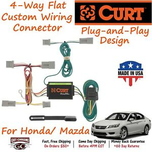 56011 Curt 4 Way Flat Trailer Wiring Connector Harness Fits Mazda Honda