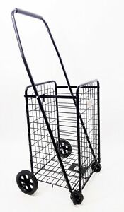 Utility Folding Shopping Cart grey blue black Cart Size 36 X 14 X 11 Inches