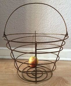 Vtg Spiral Coil Wire Handmade California Orchard Harvest Basket Shabby Rusty