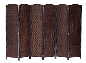 Room Divider Privacy Screen Folding Wall 6 Panel Woven Partition Shutter Brown