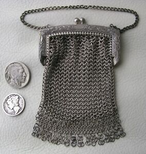 Antique Victorian Engraved Silver T Chatelaine Chain Mesh Coin Purse W