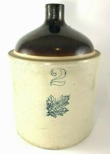 Western Stoneware Jug 2 Gallon Moonshine Whisky Crock Jug Pottery Tan Brown