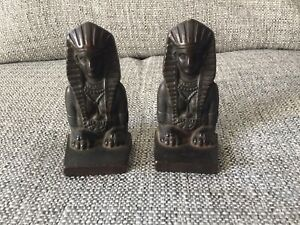 Antique Pair Of Sphinx Bookends Egyptian Revival Art Deco 1920s Cast Iron