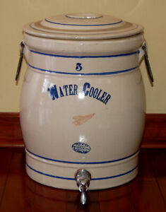 Vintage Antique Red Wing 5 Gallon Water Jug Cooler Crock With Lid