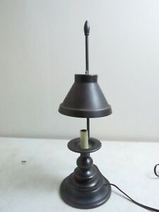 Vintage Balwin Brass Bouillotte Candlestick Desk Table Lamp Black Metal Shade