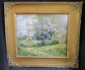 Antique Wood Picture Frame With Color Print 14 5 X 16 5