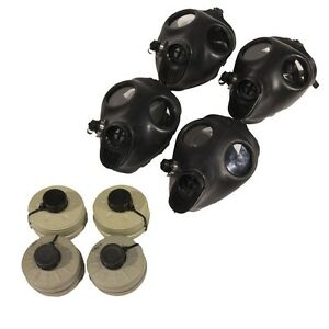 4 Adult Survival Gas Masks W 40mm Nbc Filters