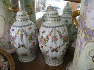 Antique Pair Rare Paris Porcelain Urn Vases Bourdoir Bloch Butterfly Insect 10
