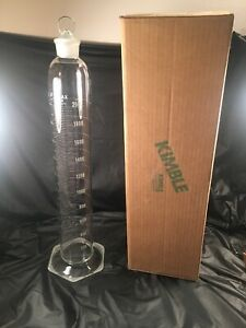Kimble Kimax 2000ml Cylinder Mixing Hex Base W penny Stopper New