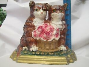 Vintage Cast Iron Double Cat Doorstop Large Heavy Old Ornate Roses Painted